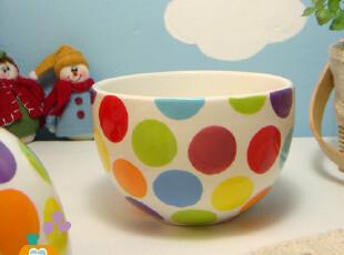 vivi正品.外贸陶瓷碗 创意家居 波点时尚 陶瓷米饭碗/汤碗/拉面碗,碗盆,