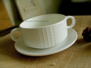 北欧原单/米白色格纹/双耳西餐浓汤杯/浓汤碗/烤碗/外贸出口套装,碗盆,