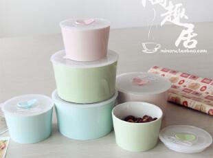陶瓷保鲜碗/便当盒  中小号各三色 盒装  出口日本原单陶瓷,碗盆,