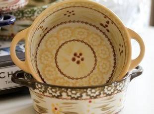 美国名品Temp-tations美式乡村风双柄圆形烤碗 出口 西餐餐具,碗盆,