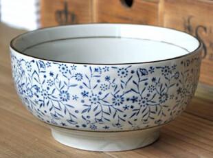 千度悠品 日式和风 陶瓷餐具 和式面碗 大碗 大汤碗 青花红花 瓷,碗盆,