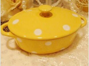 出口欧洲cath kidston风格水玉波点陶瓷焗饭盆 菜盆 双耳盖盆,碗盆,