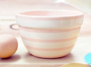 Earthenware粉色和黑白简约条纹碗,碗盆,