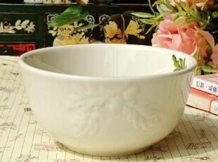 美克美家乡村北美红栎叶浮雕陶瓷餐具米饭碗稀饭碗粥碗,碗盆,