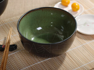 Kingda家居铺子 外贸出口 陶瓷 欧洲 绿色芝麻釉 面碗 饭碗 汤碗,碗盆,