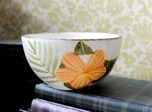 【A grass】外贸手绘陶瓷田园风格黄花沙拉碗、餐碗、零食碗!,碗盆,