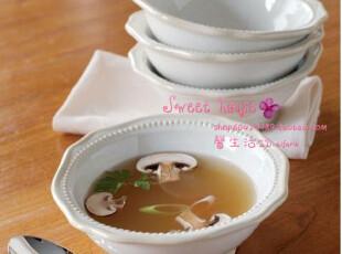 特价PRINCESSHOUSE外贸餐具陶瓷西餐汤泡面公主屋纯白浮雕珠珠碗,碗盆,