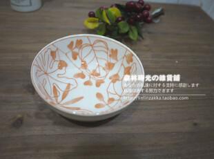 日式和风白底橙花汤碗调味碗,碗盆,