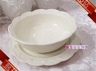 清货价外贸强化瓷欧美西餐陶瓷餐具饭沙拉碗象牙白浮雕蕾丝碗瑕疵,碗盆,
