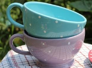 【特价】外贸陶瓷小清新水蓝/淡紫水玉点带把大号餐碗、沙拉碗,碗盆,