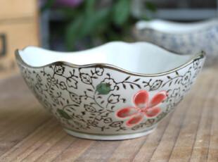 千度悠品 日式 和风 陶瓷 餐具 青花 红花 切角 碗,碗盆,
