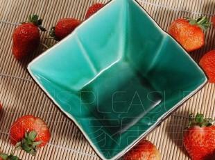 Kingda外贸陶瓷餐具 瓷器 开片碎瓷 油油翠绿 方碗 面碗 沙拉碗,碗盆,