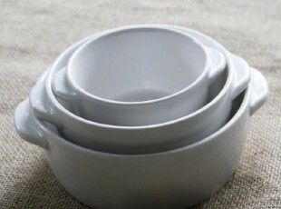 外贸陶瓷餐具 三口之家双耳汤碗 儿童碗 新骨瓷碗 沙拉碗 饭碗,碗盆,