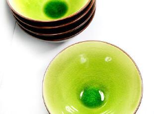 出口外贸原单 日式和风 冰裂釉陶瓷餐具 米饭碗 翠绿锥形斗笠酒碗,碗盆,