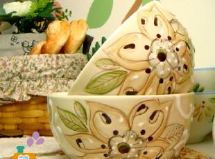 美丽说推荐 碗 陶瓷 手绘浮雕 陶瓷拉面碗/汤碗/粥碗/沙拉碗,碗盆,