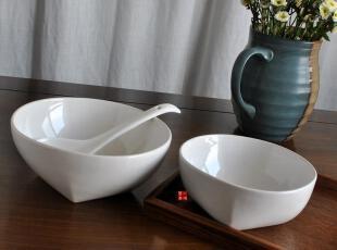 一鸿艺居  外贸陶瓷餐具 白釉方足大碗 汤碗 沙拉碗,碗盆,