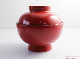出口日本 日式木碗 木漆器汤碗 带盖套装饭碗 红色大号木盖碗,碗盆,