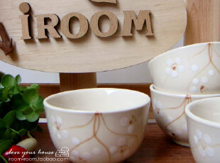 美丽说推荐 日式 NAJ-OREALY 手绘梅花 和风日式陶瓷茶碗/茶杯,碗盆,