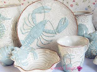 BLUESKY外贸陶瓷地中海新奇餐具沙拉汤碗浮雕海底世界系列海鲜碗,碗盆,