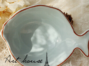 出口欧美手绘田园风陶瓷鱼形汤碗 面碗 外贸原单尾单 Zakka 中号,碗盆,