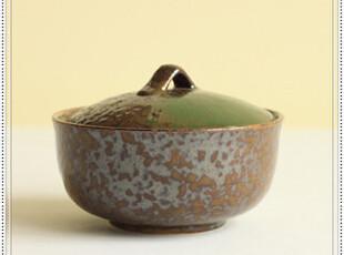【日本进口】碧彩流银赭斑艺术手作带扭盖碗汤盅炖盅糖罐5寸,碗盆,