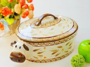 友联瓷行!欧美订单 外贸余单陶瓷餐具 超萌奶牛带盖大汤盆 汤煲,碗盆,