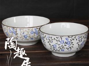 【日式餐厅陶瓷】传统和风勾藤青花饭碗/汤碗/拉面碗 外贸陶瓷,碗盆,