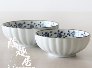 【日式餐厅陶瓷】波唐草米饭碗/凉菜碗 日本原单外贸陶瓷PG0739,碗盆,