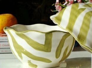 北欧家居/外贸手绘彩陶/美国ballard designs订单/玛尔诺波纹碗,碗盆,