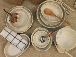 zakka 杂货 日式圆点餐具套装 陶瓷田园餐盘 汤碗 沙拉碗8件套,碗盆,