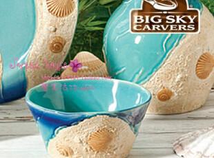 美国订单外贸手彩绘陶瓷地中海餐具汤面饭沙拉盘沙滩贝壳大容量碗,碗盆,