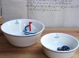 zakka日式杂货 日单碗 白瓷 海锚 餐具创意瓷碗日式碗饭碗,碗盆,