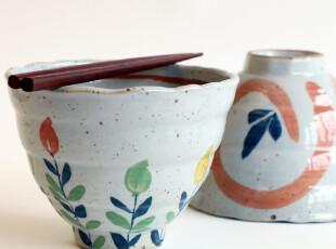 日式经典四季梦彩春趣夏风手作环痕高身锥形面碗汤碗2入礼盒装,碗盆,