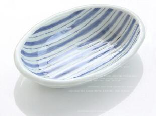 日本制      青花条纹      椭圆盆,碗盆,