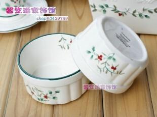 出口原单外贸彩绘陶瓷沙拉饭汤烘焙布丁 冬青果系列小红果子圆碗,碗盆,