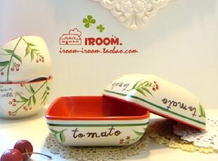 美丽说推荐 casabonita.田园彩绘陶瓷碗 方形沙拉碗/汤碗/果蔬碗,碗盆,