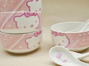 日本原单-HELLO KITTY 高档玉瓷8头套装 4碗+4勺 正品 底部微瑕,碗盆,