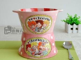 千度陶品*Blond沙拉盆*双耳汤盆*巧克力锅*外贸陶瓷餐具*出口正品,碗盆,
