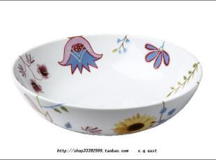 瑞典皇家Rorstrand罗斯兰 Kurbits花卉彩绘沙拉碗1.7L 实拍图,碗盆,