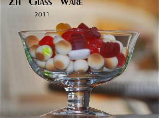 公主府造【装饰玻璃碗】冰激淋碗/干果碗/绿点蓝点,碗盆,