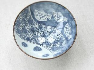 日本制       青花海洋魚紋   24厘米笠形大碗,碗盆,