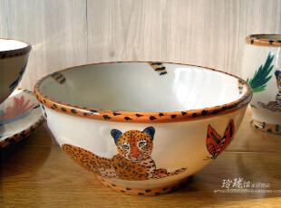 彩绘陶瓷 餐具 餐厨日用 北美丛林豹子系列 面碗 汤碗 沙拉碗大碗,碗盆,