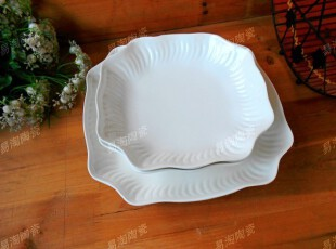 外贸出口原单创意陶瓷餐具 纯白花形方碗 汤碗餐盘 沙拉碗 水果盘,碗盆,