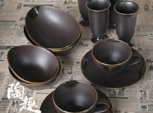 【日式餐厅陶瓷】传统和风天目黑釉陶瓷 黄金镶边 样品 售完即止,碗盆,