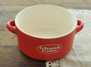 日式餐具 单双耳陶瓷碗(红色) 饭碗 耐热 可入微波炉 zakka杂货,碗盆,