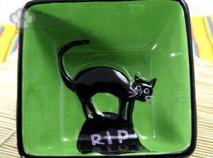 【泡泡宠物】外贸出口手绘陶瓷 果绿色黑色小猫 小方碗 零食碗,碗盆,