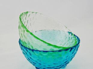 彩色天蓝色 草绿色透明玻璃碗小水果沙拉碗 米饭冰激凌碗 汤碗,碗盆,