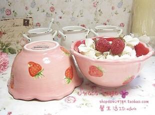 外贸彩绘陶瓷釉下彩餐具甜点雪糕饭汤面碗田园风甜美粉草莓花边碗,碗盆,
