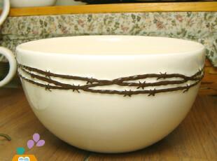【瑕疵特卖】外贸陶瓷星藤浮雕韩式碗/饭碗,碗盆,