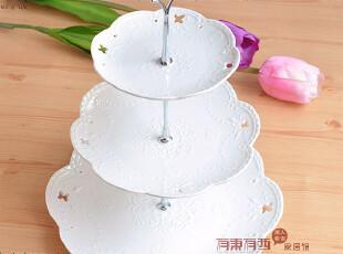 镂空蝴蝶花纹水果盘 陶瓷 蕾丝蛋糕盘架 下午茶三层糕点盘送冰贴,碗盆,